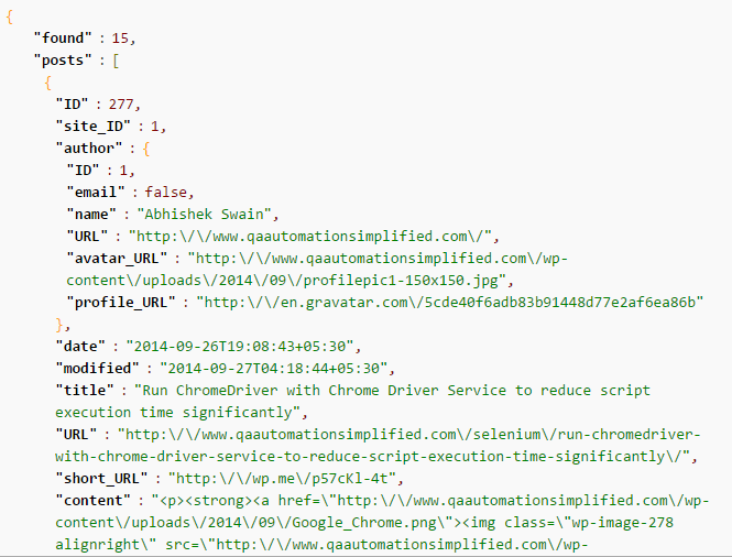 Wordpress API JSON response